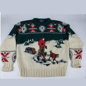 Vintage Wool Mens Husky Christmas Sweater Size L